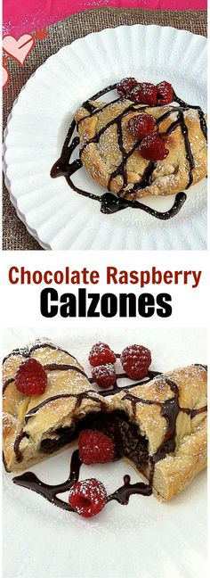 Surprise your chocolate lover with this calzone stuffed with chocolate pudding and raspberries! Recipe at TeaspoonofSpice.com