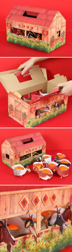 """Just in time for Chinese New Year jolly, Eminent designed a unique gift for Fine Paper Takeo's customers – 8 lush mandarin oranges housed in a vividly inked Malaysian wooden """"kandang kambing"""" (goat barn) complete with 8 lucky goats!  Details such as  hot stamping foil made the printed visuals pop off the matte paper, and the convenient handle allowed for easy carrying and presentation of the fine quality of Takeo paper."""