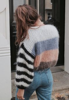 Fluffy pastel stripe sweater | chunky knit jumper