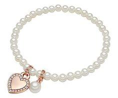 Perldesse - Parel armband Sylvie, rose/wit, L 17 cm