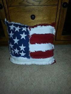 J &R Raggedy Primitives . Flag Rag Quilt Pillow .Like our  page on Facebook to see more of our things.