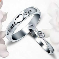 Sweet Hollow Heart Carving Lover Letter Inlaid Heart Crystal Platinum Plate Rings for Couple--Cheap Wholesale