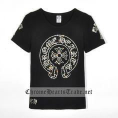 73a8fb5ac77 Black Chrome Hearts Large Diamonds Horseshoe Short T-shirt  CH T Shirt  -