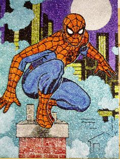 Spiderman glitter art 18x24 by TigerGalindo on Etsy, $120.00