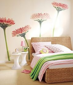 I love the wall art which is colour themed through to the bedding and curtains. #interiordesign #bedrooms