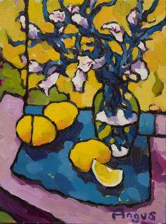"""Bellflowers and Lemons Over Yellow Acrylic 12"""" X 9"""""""
