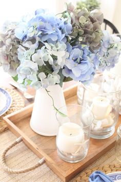 Thanks so much for stopping by the cottage today, as you have probably guessed, I am back today with more blue and white decor! This time, it's a pretty table setting in our kitchen… I was inspired to set a casual table and chose these Mason jars as our drinking glasses…I like to use mason …