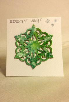 Kartka świąteczna - Płatek w zieleni