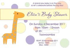 Print your own invitation. Baby Shower Invite - Giraffe Dots Design