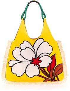 Marni Floral-Pattern Fringe Hobo Bag