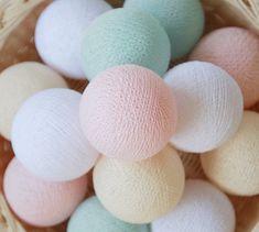 10,12 + 7 Salle de blanc menthe crème Pastel Rose coton boule jeu de lumières pour chambre à coucher, mariage, enfant, chambre bébé, Patio, fête, fée, fait à la main