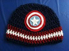Captain America , hat , red , white , blue , crochet , crocheted , yarn
