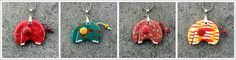 Thulo, the baby mammoth, polymer clay pendants