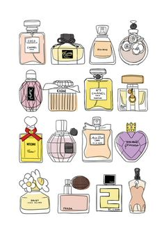 Perfume bottles print from Thedreamingclouds on Frühling Wallpaper, Makeup Stickers, Bottle Drawing, Cute Kawaii Drawings, Bullet Journal Art, Journal Stickers, Aesthetic Stickers, Doodle Lettering, Cute Stickers