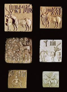 Seal Impressions Indus Valley Civilization 2500 1500 Bce A D   SEAL IMPRESSIONS a., d. horned animal; b. buffalo; c. sacrificial rite to a goddess (?); e. yogi; f. three-headed animal. Indus Valley civilization, c. 2500 1500 BCE. Steatite, each seal approx. 11*4 * 11*4+ (3.2 * 3.2 cm)