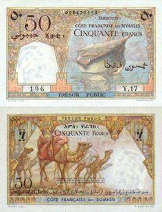 Djibouti 50 Francos (1952) (camellos, barco) / Yibuti, oficialmente la República de Yibuti, es un pequeño país ubicado en el Cuerno de África. Tiene 23 200 km² y comparte fronteras con Eritrea por el norte, con Etiopía por el oeste y el sur y con Somalia por el sureste Money For Nothing, Money Notes, Horn Of Africa, Gold Money, Gold And Silver Coins, Somali, Old Newspaper, Banknote, Wrapping