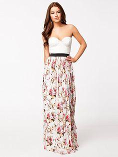 Bustier Sweetheart Lace Floral Maxi Dress - Rare London - Vit Mönstrad - Festklänningar - Kläder - Kvinna - Nelly.com