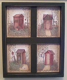 Outhouse Bathroom Wall Decor Wooden Window