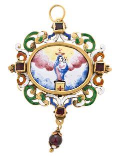 Medalla devocional española, de la primera mitad del siglo XVII, de la Virgen del pilar pintada