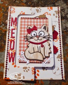 Debra Hensley using the Pop it Ups Rectangle Pull Card, Whiskers the Cat, Heart Pivot and Props4 die sets by Karen Burniston for Elizabeth Craft Designs. Also uses ECD Alphabet Caps and glitter dots/lines. - ECD Feb bp meow closed 1a P1070626