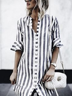 Hot Offer 2019 Hot Sale Women& Black And White Striped Dress Casual Flare Half-sleeved Loose Dresses Women Button Shirt Dress Vestidos Stand Collar Shirt, Collar Blouse, Shirt Sleeves, Collar Shirts, Half Sleeves, Shirts & Tops, Shirt Blouses, Long Shirts, Women's Tops