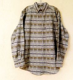 Woolrich Southwest Stripe Chamios Flannel Shirt Mens M Fall Classic Wear w/Jeans #Woolrich #ButtonFront