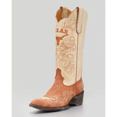 Women's University of Texas Tall Gameday Boots, White/Orange - Gameday Boot Company ($399) found on Polyvore
