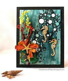 unique ideas were used in this wonderful seahorse mixed media piece