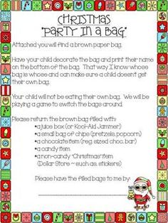 Are you ready for the easiest classroom Christmas party?  I use this idea for every class party and the children love it!  Attach a copy of the  letter to a brown paper bag and send one home with every child a week before the party.  I always have the due date the day before our celebration just in case someone forgets.