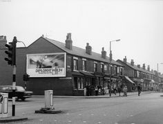 Rochdale Road, going west from Victoria Avenue, Blackley, 1968 Old Photos, Vintage Photos, Manchester Street, Rochdale, Industrial Architecture, Salford, England, Street View, Victoria