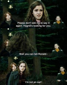 I'm not an owl!  - Hermione #HarryPotter