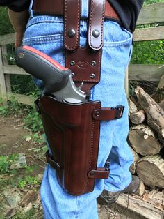 Nightingale Leather Taurus Raging Bull Drop Leg Holster~ Brown Cowhide~Brown Stitching