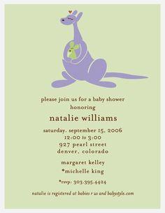 purple kangaroo baby shower invitations