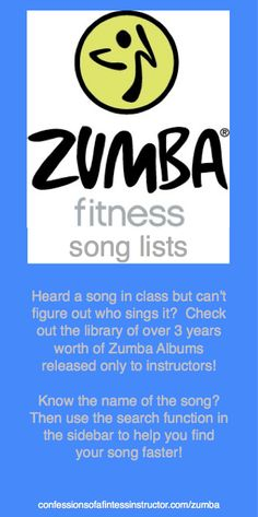 Large library of song lists released by Zumba only to Zumba instructors - hunt down that song you've been looking for! #zumba