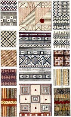 Owen Jones:Melanesian and Polynesian bark fabric designs original illustration for The Grammar of Ornament