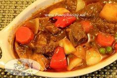 Kalderetang Baka (Beef Caldereta or Filipino Beef Stew): Beef Caldereta or Kalderetang Baka the widely regarded special Filipino dish which earned the moniker Filipino Beef Stew from among the numerous Filipinos abroad. Kalderetang bakawhew!!! one of my favorite filipino dishes If you use pork meat  its called menudo if chicken  Its apritadathere are many type of cooking method of beef kalderata. saute or sinangkutsa..Ive used the traditional one(sinangkutsa)..Did you know that beef…
