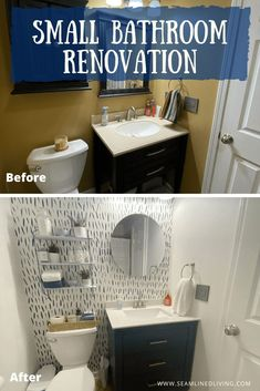 We're always fixing, updating, or decorating something in our home, but I have yet to blog about our recent projects! Today, I'm changing that and am excited to share our latest home renovation, our guest bathroom!  #bathroomremodel #bathroomrenovation #homeimprovement #homedecor #bathroomdecor #remodelonabudget #decor Home Renovation, Home Remodeling, Bathroom Interior Design, Bathroom Designs, Bathroom Ideas, Small Full Bathroom, Rental Bathroom, Striped Shower Curtains, Bathroom Paint Colors