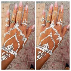 Pink nails n henna❤️ White Henna Tattoo, Henna Tattoos, Cute Tattoos, Tatoos, Henna Nails, Temp Tattoo, Tattoo Art, Beautiful Mehndi, Henna Designs