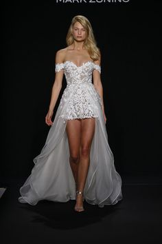 Browse the latest wedding dress collection from Mark Zunino for Kleinfeld. View photos of couture wedding gowns from the Fall 2016 wedding dress collection by Mark Zunino for Kleinfeld. Wedding Rompers, Wedding Jumpsuit, Wedding Dress Shorts, Cocktail Wedding Dress, Prom Dress, Strapless Dress, 2016 Wedding Dresses, Bridal Dresses, Wedding Gowns