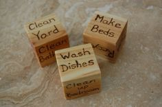 "Chore Dice or use as ""assignment dice"" for math: game, flash cards, workbook, cooking, etc. Chores For Kids, Activities For Kids, Teaching Kids, Kids Learning, Chore Cards, Baby Bug, Things To Do With Boys, Wood Burning Crafts, How To Make Bed"