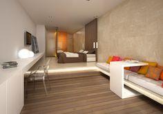 hoogteverschil in de kamer gebruiken door er een bank tegen de muur van te maken met simpele kussens.   design hotels - Google zoeken