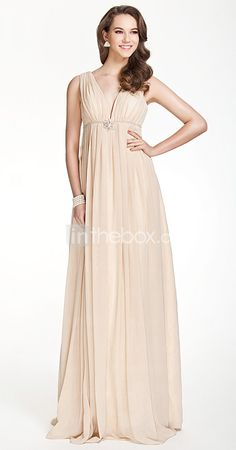 $129.96  Silhouette: Sheath/Column  Neckline: V-neck  Waist: Empire  Hemline/Train: Floor-length  Sleeve Length: Sleeveless  Embellishments: Draping, Crystal Brooch, Pleats  Back Details: Zipper  Fully Lined: Yes  Built-In Bra: Yes  Boning: Yes  Fabric: Chiffon  Shown Color: Champagne  Body Shape: Apple, Hourglass, Inverted Triangle, Pear, Rectangle, Plus Sizes, Petite, Misses