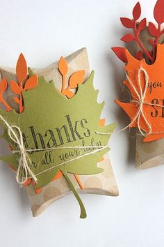 Welcome to day 1 of the Papertrey Ink August release countdown! First up are some projects created with the new Enclosed: Leaf set and dies and the new Scribbled Sentiments. Thanksgiving Favors, Twig Wreath, Cool Gifts For Kids, Neighbor Gifts, Pillow Box, Fall Cards, Thank You Gifts, Creative Gifts, Craft Gifts