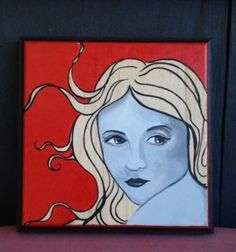 Blonde Whimsy - by Lisa Maria  acrylic on wood 4.5 in x 5 in  NFS http://lisamariaartista.com With flowing blonde hair, this whimsical mini painting features a black and white portrait of a woman looking over her shoulder. Her hair outlined in black only shows the natural wood of the block it is painted on.