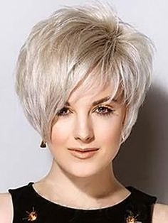 Trendy Short Capless Charming Silvery White Fluffy Straight Synthetic Wig For Women