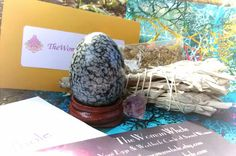 Yoni Egg Goddess Kit: Includes Energized Yoni Egg With Purchase! (Medium Undrilled Snowflake Obsidian) MSO4227 by TheWomanWhole on Etsy #yonieggs #goddess #crystals #wombhealing