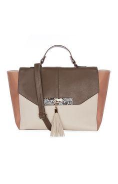 Color Block Satchel Handbag