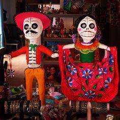 Mexican Folk Art in San Miguel de Allende.  Handmade papier-mâché Day of the dead couple, so fun!!!