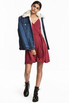 V-neck dress - Dark red - Ladies | H&M GB 1