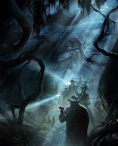 ArtStation - Call of Cthulhu (Legrasse in bayou), François Baranger Art Cthulhu, Call Of Cthulhu Rpg, Lovecraft Cthulhu, Hp Lovecraft, Dark Fantasy, Fantasy Art, Arte Horror, Horror Art, Lovecraftian Horror